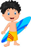 Cartoon little kid holding surfboard Royalty Free Stock Photos