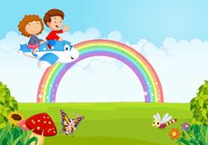 Cartoon Little kid Operating a Plane with rainbow Stock Photo