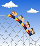 Cartoon little kid play in rollercoaster Royalty Free Stock Image