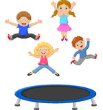 Cartoon little kid playing trampoline Royalty Free Stock Photos