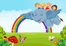 Cartoon little kid on the rainbow Royalty Free Stock Images