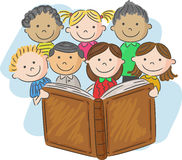 Cartoon little kid reading book Stock Photography
