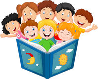 Cartoon little kid reading book Stock Photos
