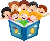 Cartoon little kid reading book Stock Photos