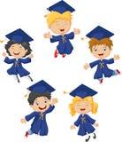 Cartoon little kids celebrate their graduation  on white background. Illustration of Cartoon little kids celebrate their graduation  on white background Stock Photos
