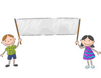 Cartoon little kids holding banner Stock Image