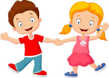 Cartoon little kids holding hand Stock Image