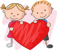 Cartoon little kids holding love Stock Photography