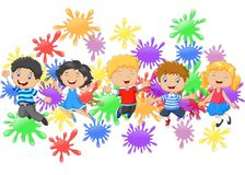 Cartoon little kids jumping together with collection of paint splash Royalty Free Stock Images