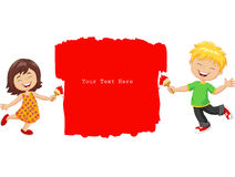 Cartoon little kids painting the wall with red color Stock Images