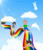 Cartoon little kids playing slide on rainbow stock illustration