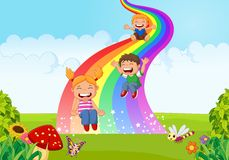 Cartoon little kids playing slide rainbow in the jungle Stock Photos