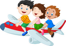 Cartoon little kids riding airplane  on white background. Illustration of Cartoon little kids riding airplane  on white background Stock Image