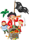 Cartoon Little kids trapped in area of the treasure island. Illustration of Cartoon Little kids trapped in area of the treasure island Royalty Free Stock Images