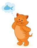 Cartoon little kitten with fish Stock Photography