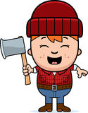 Cartoon Little Lumberjack Axe Royalty Free Stock Photography