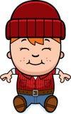 Cartoon Little Lumberjack Sitting Stock Photos