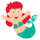 Cartoon Little Mermaid with Red Hair Royalty Free Stock Photo