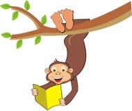 Cartoon little monkey on the tree Royalty Free Stock Photography