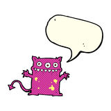 Cartoon little monster with speech bubble Royalty Free Stock Images