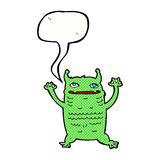 Cartoon little monster with speech bubble Royalty Free Stock Photos