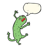 Cartoon little monster with speech bubble Stock Photography
