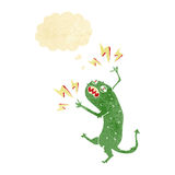 Cartoon little monster with thought bubble Royalty Free Stock Image