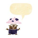 cartoon little mushroom man with speech bubble Royalty Free Stock Photos