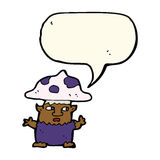 cartoon little mushroom man with speech bubble Royalty Free Stock Images