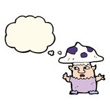 cartoon little mushroom man with thought bubble Royalty Free Stock Photo