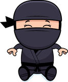 Cartoon Little Ninja Sitting Royalty Free Stock Photos