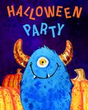 Cartoon little one-eyed monster and pumpkins with title `Halloween party`. Hand drawn watercolor illustration vector illustration