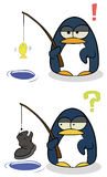 Cartoon little penguins with fishing rod. A vector illustration of cartoon little penguins with fishing rod royalty free illustration