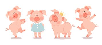 Free Cartoon Little Piglets. The Year Of The Pig. Stock Photography - 128481622
