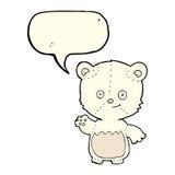 cartoon little polar bear waving with speech bubble Stock Photography