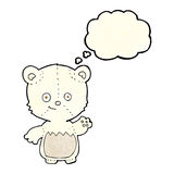 cartoon little polar bear waving with thought bubble Royalty Free Stock Images