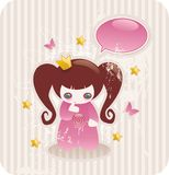 Cartoon little princess. With lollipop, glossy butterflies and stars Stock Photos