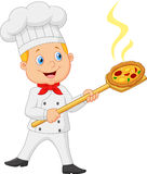 Cartoon the little red bow holding the tool with bread bakery peel Royalty Free Stock Photo