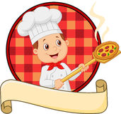 Cartoon of the little red bow holding the tool with bread bakery peel Stock Photos