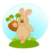 Cartoon little toy bunny with carrot Stock Photography