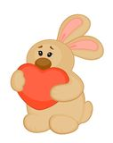 Cartoon little toy bunny with heart Stock Image