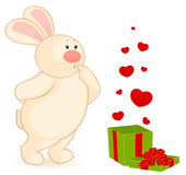 Cartoon little toy bunny with heart Stock Images