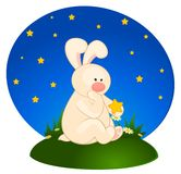 cartoon little toy bunny with stars Royalty Free Stock Photo