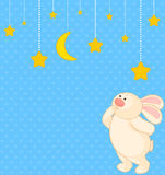 cartoon little toy bunny with stars Royalty Free Stock Image