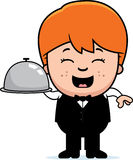 Cartoon Little Waiter Tray Royalty Free Stock Images