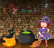 Cartoon little witch holding a broomstick in the room Stock Illustration