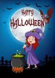 Cartoon little witch preparing potion with halloween background Royalty Free Stock Photography