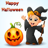 Cartoon little witch waving and pumpkin Royalty Free Stock Photo