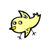 Cartoon little yellow bird Stock Photos