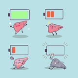 Cartoon liver with battery Royalty Free Stock Image